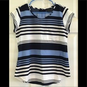 ANN TAYLOR top with blue stripes/short sleeves
